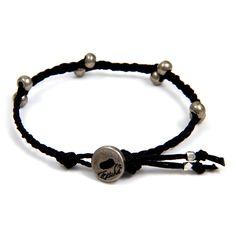 Black Irish Waxed Linen Bracelet with Barrel Bead Accent and Button Closure #boho #ettika #jewelry #accessories  #menswear #men #bracelet