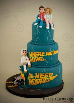 Roads? Where we're going we don't need roads. Back to the Future Wedding cake!
