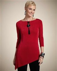 The Travelers™ tunic--with allover rows of burnout stripes and a visually intriguing asymmetrical hem. Our finely ribbed Travelers™ knit is wrinkle-resistant. Mature Fashion, Over 50 Womens Fashion, Big Fashion, Fashion Over 50, Look Fashion, Fashion Outfits, Free Clothes, Clothes For Women, Chicos Fashion