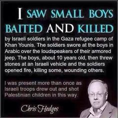 Chris Hedges, eye witness. -- So the IDF happily commit these atrocities in front of international witnesses too... Israel know all too well that they have impunity in all things. As long as they have the support of the US, they can do anything they want, anything at all. What an atrocious nation.