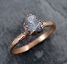 Raw Diamond Solitaire Engagement Ring Rough 14k Rose By Byangeline Wedding Rings
