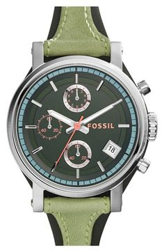 Fossil 'Original Boyfriend' Chronograph Leather Strap Watch, 38mm available at Nordstrom