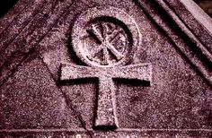 Coptic Cross on the porphyry sarcophagus traditionally associated with Constantine the Great in the atrium of Hagia Eirene Church