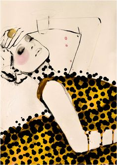 Bold & beautiful fashion illustration with fabric print detail