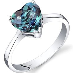 14K White Gold Created Alexandrite Heart Solitaire Ring 225 Carat ** Learn more by visiting the image link.Note:It is affiliate link to Amazon.