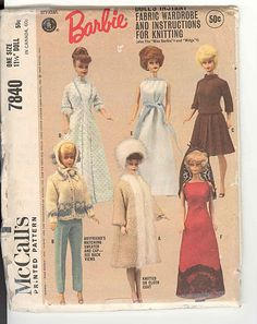 Mccalls pattern Barbie doll clothes All the girls in my family had Barbies. This reminds me of all the clothes my mom used to sew.