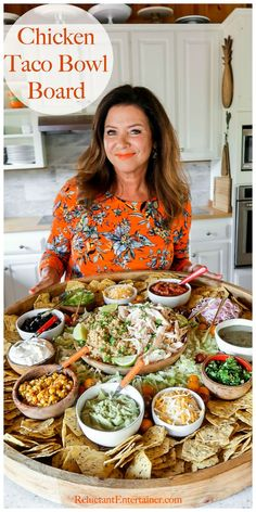 "Taco Tuesday Chicken Taco Bowl Board For casual hosting, serve a Chicken Taco Bowl Board, with chicken and rice. Serve your favorite ""taco"" toppings. Perfect for ENJOY! Let go of the idea of perfect entertaining and provide Party Food Platters, Party Trays, Food Trays, Food Box, Bar Food, Snacks Für Party, Superbowl Party Food Ideas, Best Party Food, Appetizer Recipes"