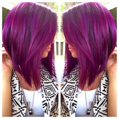 Love. If I ever go purple I want this shade. Kind of like the cut too but not sure I could part with my long hair