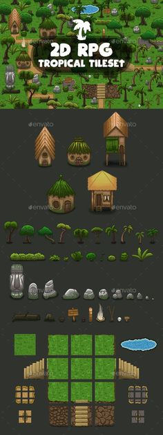 Buy RPG Tropical Tileset by craftpix_net on GraphicRiver. RPG Tropical Tileset is a set of vector graphic elements with which you can create levels in role-playing games. 2d Rpg, Free Game Assets, Minecraft, Unity Games, Game Resources, Game Background, Rpg Maker, Environment Concept Art, Drawing Reference Poses