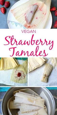 Such an interesting recipe from (I'll use sugar-free jam). :) A sweet tamale might seem a little bit odd, but these strawberry tamales are going to change some hearts and minds! They're light, sweet, fruity and perfect for breakfast or dessert. Vegan Sweets, Vegan Desserts, Vegan Recipes, Cooking Recipes, Freezer Recipes, Freezer Cooking, Vegan Food, Healthy Sweets, Health Desserts