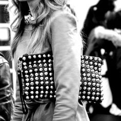 Black leather studded clutch...