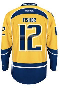 buy popular e8b07 e7dab Nashville Predators Mike FISHER  12  A  Official Home Reebok Premier  Replica NHL Hockey