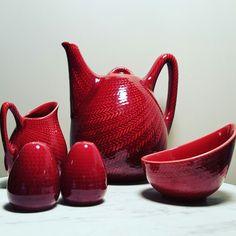 Rare Mid Century Scandinavian Rörstrand Bla Eld Teapot Pot Designed by Hertha Bengtsson Manufactured by Rörstrand 1950's