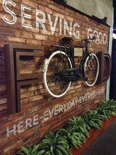 Sign, urban, serving good food, idea, coffee shop: