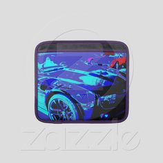 Rickshaw Apple iPad sleeve of a Chevy Camaro ZL1 in dealership showroom with a 1970 Corvette Stingray from Zazzle.com...100% money back guarantee....available nowhere else