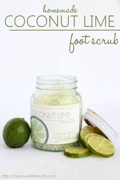 coconut lime homemade foot scrub