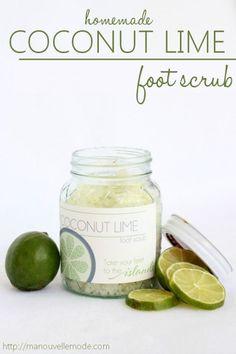 coconut lime homemade foot scrub