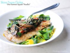 "Skinny Tuscan Chicken over Summer Squash ""Noodles"""