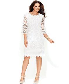 INC International Concepts Plus Size Dress, Three-Quarter-Sleeve Lace Sheath - Dresses - Women - Macy's