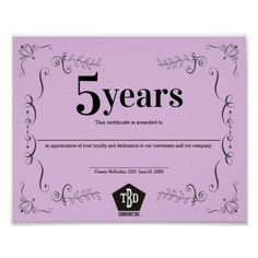 Decor universal employee anniversary certificate - template gifts custom diy customize