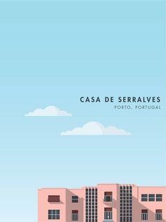 Casa de Serralves in Porto, Portugal by Wellington Prints on Etsy