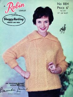 1950's Robin Knitting Pattern For Shaggy Darling Mohair Sweater.  www.vintagepatternco.etsy.com £3.90 The Vintage Pattern Company