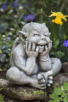 Robin,elf/gargoyle garden statue ~ He's so darn cute!   *I smiled so big when I saw this=Cher
