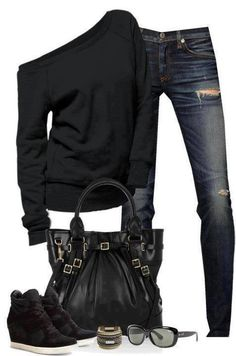LOLO Moda: Stylish women outfits Love the shoes the most and the off the shoulder sweater Jeans Casual, Casual Outfits, Black Outfits, 80s Style Outfits, Sporty Chic Outfits, Casual Attire, School Outfits, Dress Outfits, Fashion Outfits