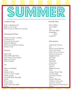 BestPinterest: Summer to-do list and daily schedule samples for kids