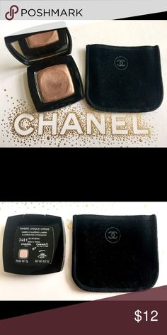 Chanel Ombré Unique Creme Shadow - Riviera Shimmering creme shadow in a gold/ bronze color. I've used this as a highlighter, one soft swipe, on the browbone and tops of cheekbones. As a shadow just use a little more for an intense Metallic look. Very light usage as can be seen in photo. CHANEL Makeup Eyeshadow