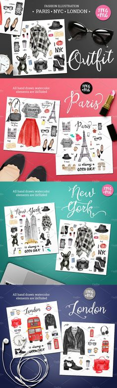 Bundle of #watercolor #fashion #illustrations includes 100 hand drawn elements. You can mix it as you want and create trendy #outfits to develope your design. It can be used as a #design of #fashionable banners, t-shirts, tags, cards, posters, notebooks, #magazine layouts and so on.