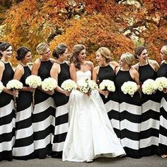 Fabulous contrast for a fall wedding! We adore these bridesmaids with their @romonakeveza bride from @kleinfeldbridal via @alisonconklin #bridemaids #blackandwhite #fallwedding #winterwedding #love #awesome #Kleinfield #RomonaKeveza #bride #bridetobe #fut