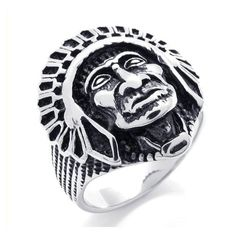 Wild Cool Vintage Ring Jewelry Stainless Steel Ring Native American Indian Ring Man's Ring Size 7 8 9 10 11 Width 25mm #Affiliate