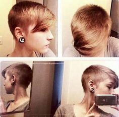 Short blonde asymmetrical pixie undercut