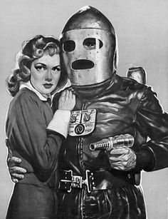 """Don't worry, miss, I'm well-protected in my retro futuristic rocket guy suit. You, on the other hand..."""
