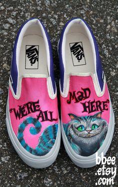 Make sure to walk through Wonderland with the perfect kicks. Shoe Art by Alexandra Trim #InkedMagazine #art #shoes #artwork #AliceInWonderland #vans