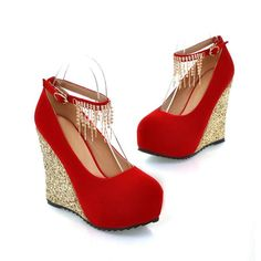 Elegant close toe pumps wedge heels for a stunning look Beautiful jewels hanging from the ankle strap Ankle strap for support Made from PU 11.5 cm wedge heel 4