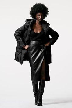 Faux Leather Pencil Skirt, Pencil Skirt Black, Online Zara, Zara United States, Down Coat, High Collar, Color Negra, Hoods, High Waisted Skirt