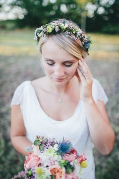 This is the beautiful Fanny and her flower crown with @avrilmaifleurs, south west France wedding, Bordeaux