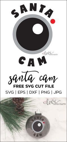 Another free SVG cut file for a Santa Cam. Perfect for Silhouette and Cricut. This SVG, DXF, EPS, PNG and JPG file can be cut from vinyl and applied to ornaments and shirts. | LovePaperCrafts.com