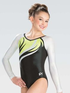 5a08bacd07f4 Competition Gymnastics Leotard GK Lemon Lime Flare Long Sleeves Long Sleeve  Gymnastics Leotards, Kids Leotards