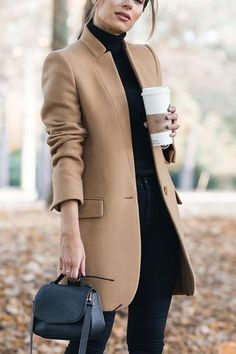 High Collar Button Pocket Coat - Winter Outfits for Work Mode Outfits, Winter Outfits, Fashion Outfits, Casual Outfits, Winter Dresses, Fashion Clothes, Summer Outfits, Fashion Jewelry, Fashion Mode