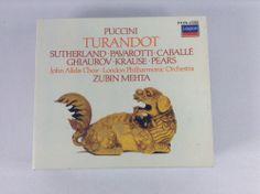 Puccini Turandot CD 2 Discs Boxed Set Booklet Decca Sutherland Pavarotti London #Opera