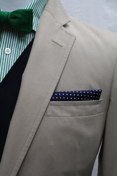 Navy with green & grey, polka dots with stripes. Mens Preppy Vintage Haspel Suit by ViVifyVintage