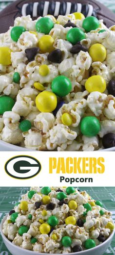 Green Bay Packers Popcorn for those Green Bay Packers fans in your life. Sweet, salty, crunchy and delicious and it is extremely easy to make. This delicious popcorn will be perfect at your next game day football party. a NFL playoff party or a Super Bowl party. Follow us for more fun Super Bowl Food Ideas.