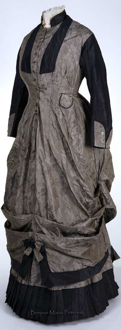 Walking ensemble ca. 1875. Two pieces. Gray silk. Stephens College Costume Museum Pinterest