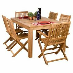 "Teak wood indoor/outdoor dining set with a planked table and 6 slatted chairs.  Product: 1 Dining table, 4 folding chairs and 2 arm chairsConstruction Material: Teak woodColor: NaturalFeatures:  Suitable for indoor and outdoor useWeather and mildew resistant2"" Diameter umbrella holeFoldable chairs Dimensions: Dining Table: 29"" H x 63"" W x 35"" DChair: 35"" H x 18"" W x 20""Arm Chair: 35"" H x 21"" W x 20"" D"