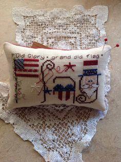US Patriotic cross stitch flag pillow ornament