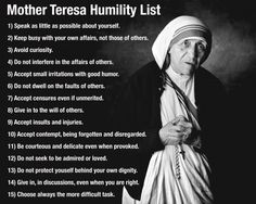 "Blessed Mother Teresa ""Humility List"" -posted 7-20-2015 on Frankie's Blog"