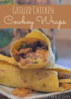 Grilled Chicken Cowboy Wraps  Ingredients:  1 package of Tyson's Grilled and Ready Chicken Strips (I used their Southwestern Style)    1/2 cup Barbecue Sauce   1/2 cup Light Ranch Dressing   Shredded Cheddar Cheese   Chopped Romaine Lettuce   Tortilla Strips (mini, found in the salad section)   Large Tortillas (your favorite flavor)
